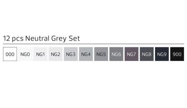 Stylefile markers 12 stuks neutraal grijss