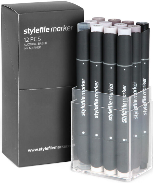 Stylefile markers 12 stuks warm grijs